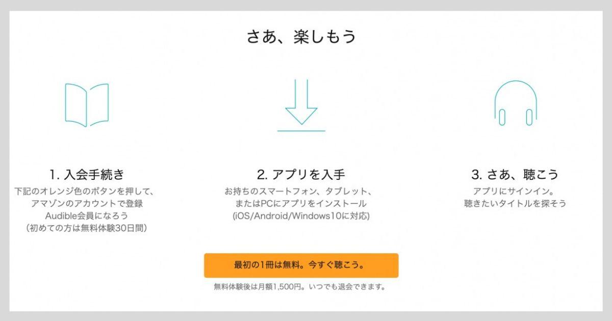 Audible (オーディブル) の無料体験 登録方法