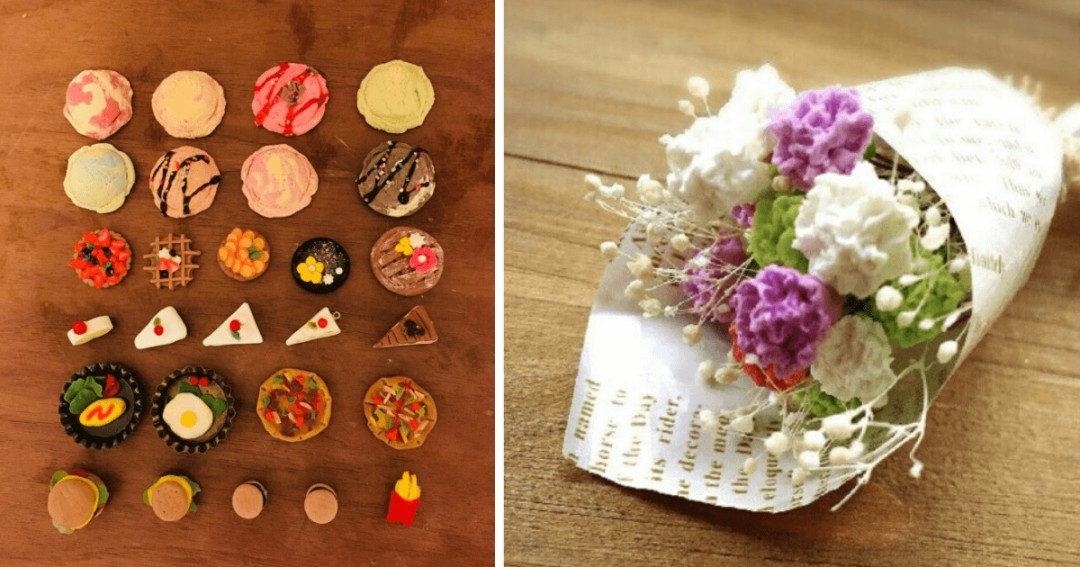 粘土で作ったスイーツデコと花束の写真