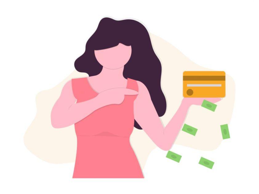 クレジットカードを使いすぎている女性